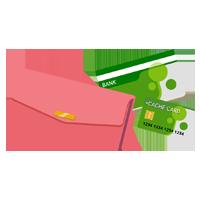 財布とキャッシュカードと通帳のイラスト